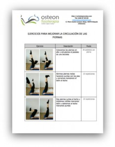 tabla ejercicios circulatorios osteon masaje drenaje linfático manual