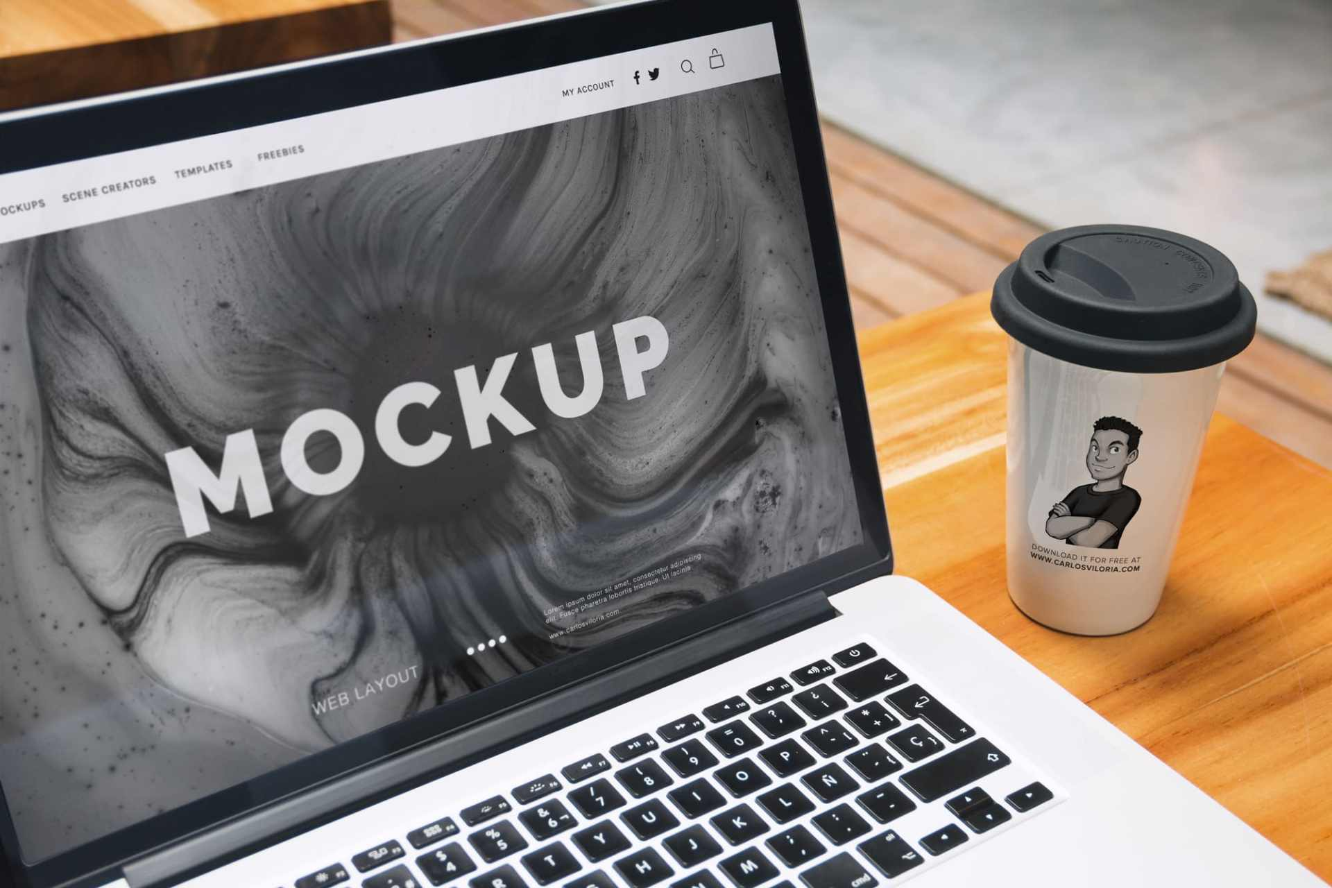 Free Mockup: Macbook Pro and Coffee Cup for Logo