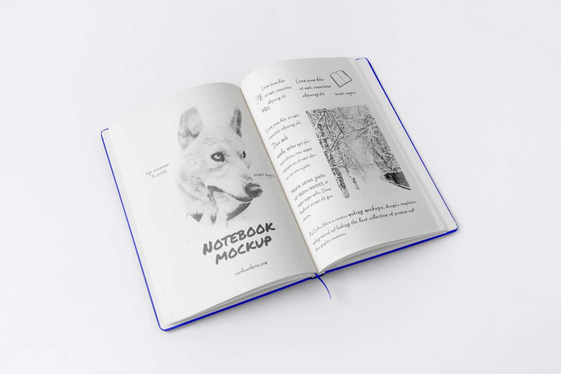 Free A5 Sketch Notebook Mockup 02