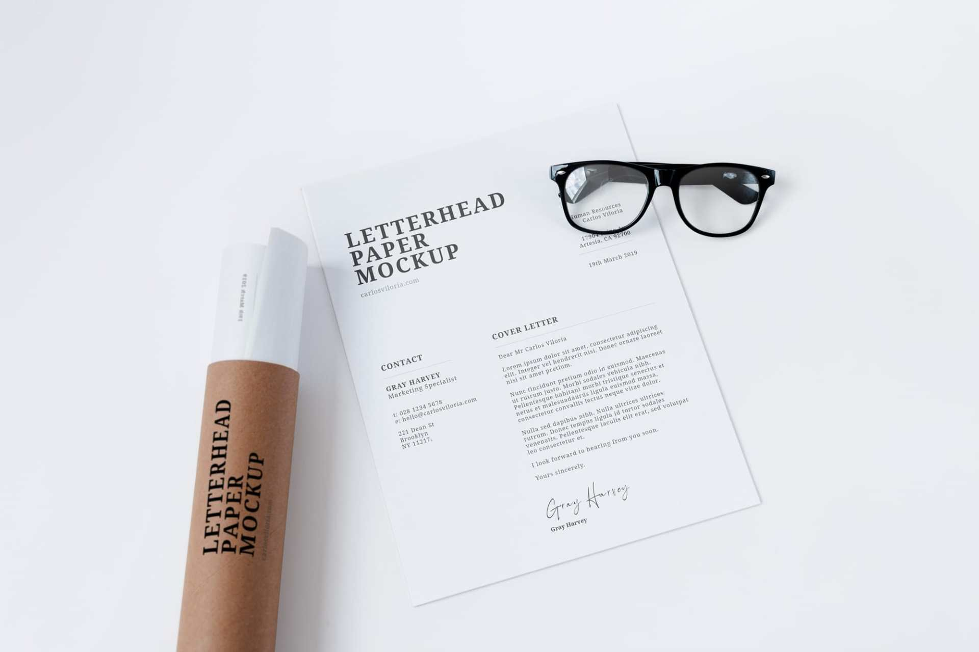 Free Letterhead Paper and Craft Tube Mockup