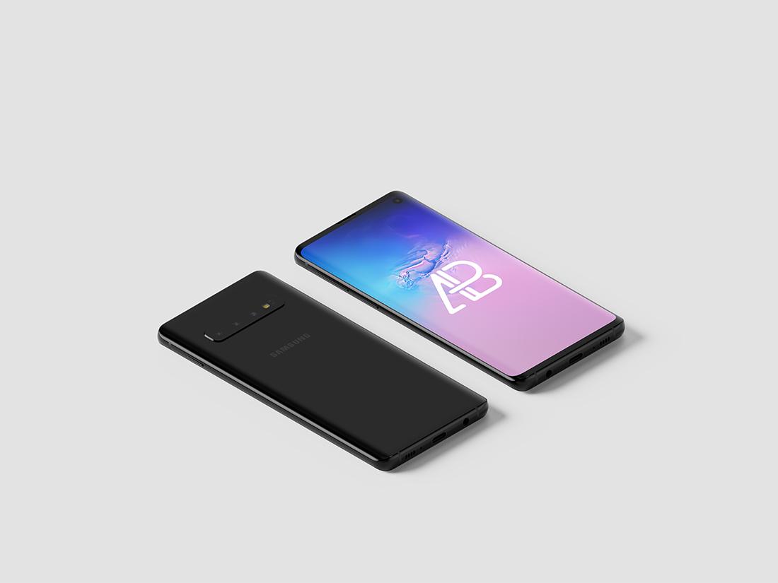 Free Samsung Galaxy S10 Isometric Mockup Vol.2