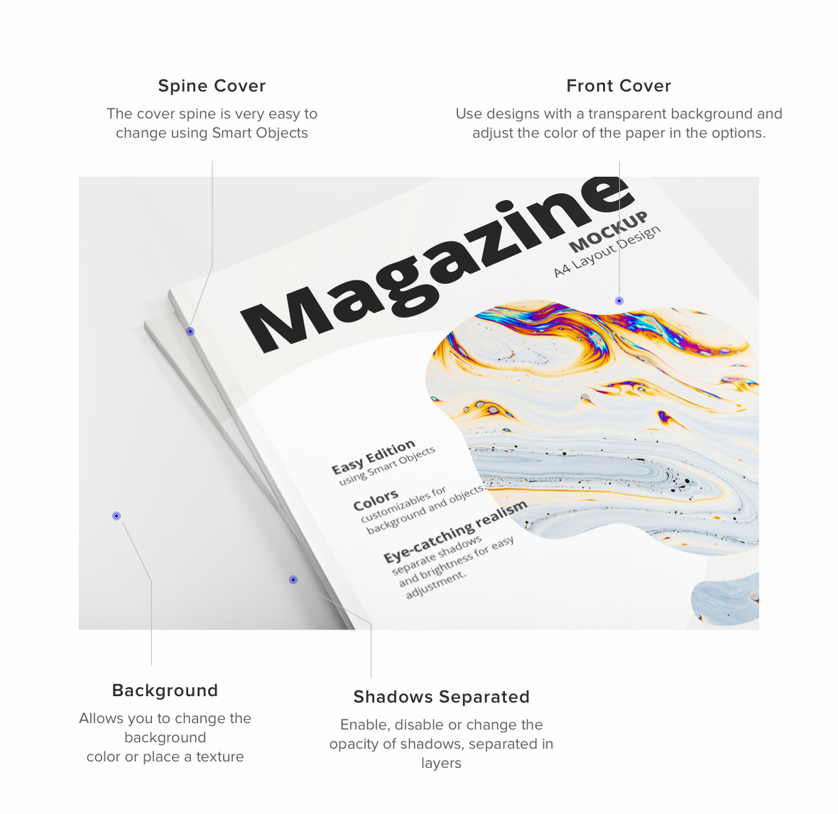 Close Up A4 Magazine Mockup