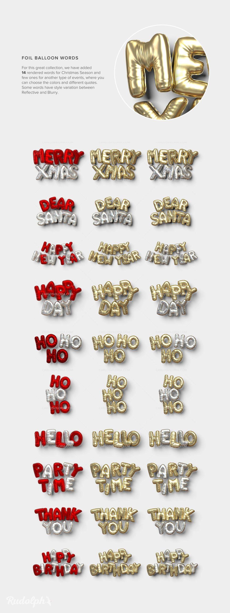 Rudolph 3D Foil Balloons Words