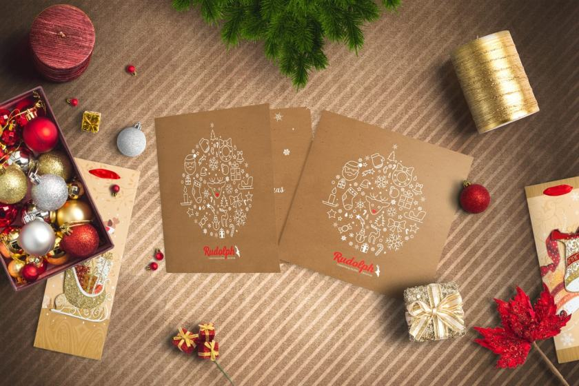 Square BiFold Christmas Greeting Card Scene Mockup 03