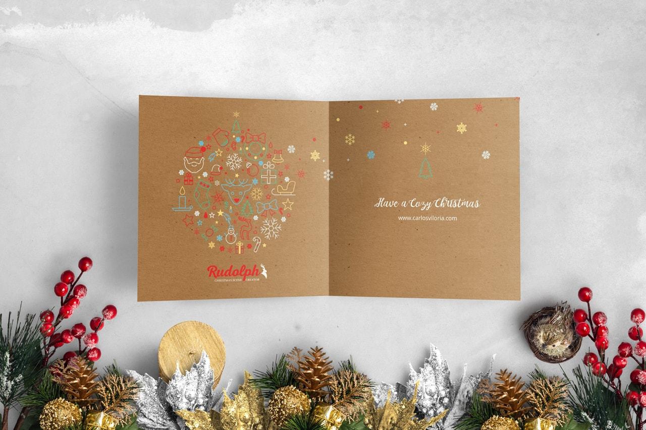 Square BiFold Christmas Greeting Card Scene Mockup 04