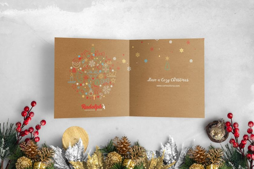 Square BiFold Christmas Greeting Card Scene Mockup 04