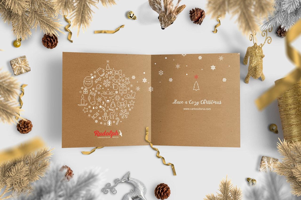 Square BiFold Christmas Greeting Card Scene Mockup 05