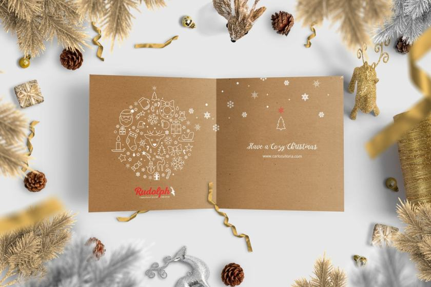 Square BiFold Christmas Greeting Card Scene Mockup 05