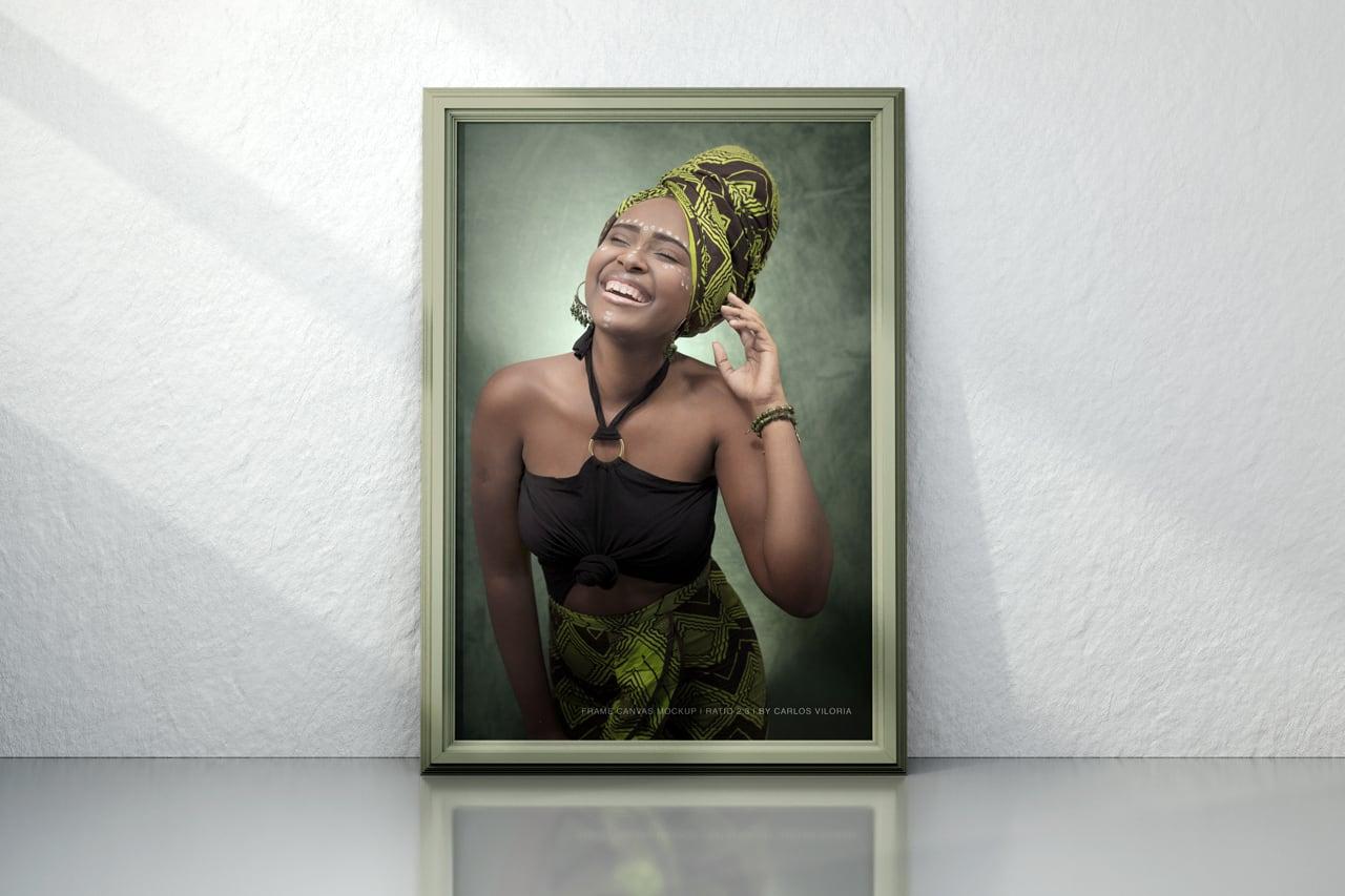 Portrait Framed Photo Canvas Mockup