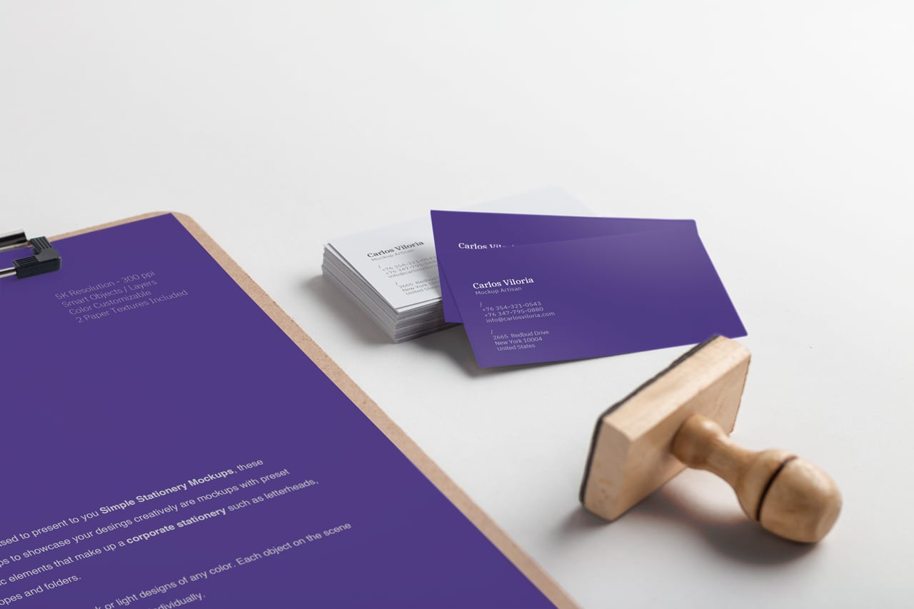 A4 Clipboard and Business Cards Mockup 02