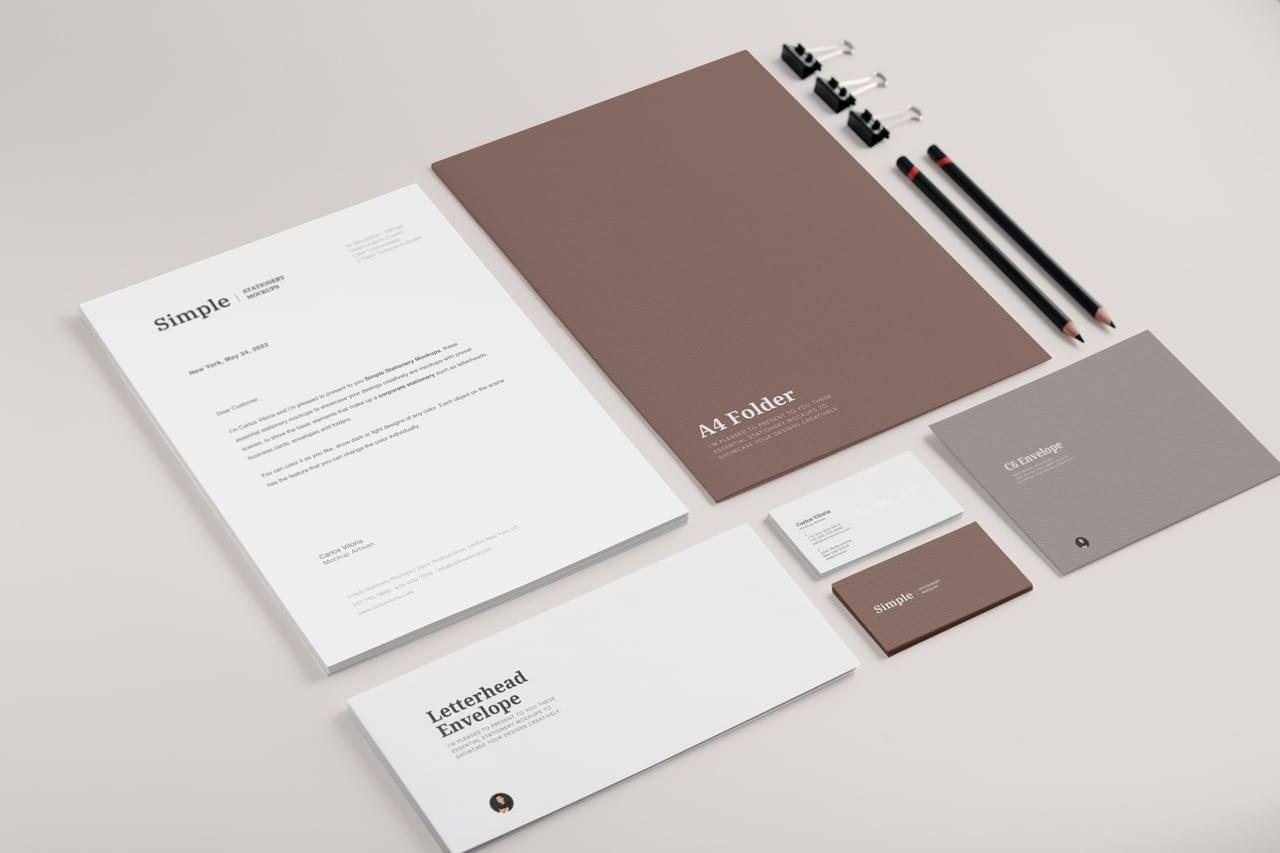 Branding Stationery Mockup for Letterheads, Envelopes & Business Cards