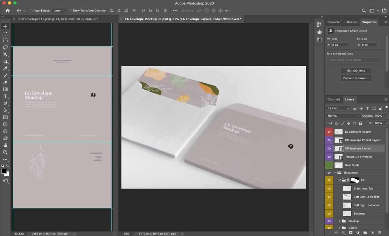 C6 Envelope Mockup for Photoshop