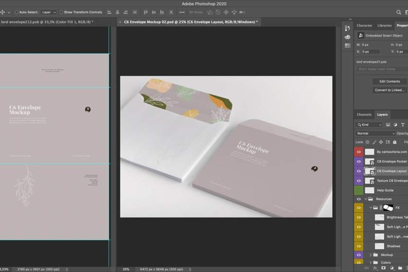 C6 Envelope Mockup for Photoshop