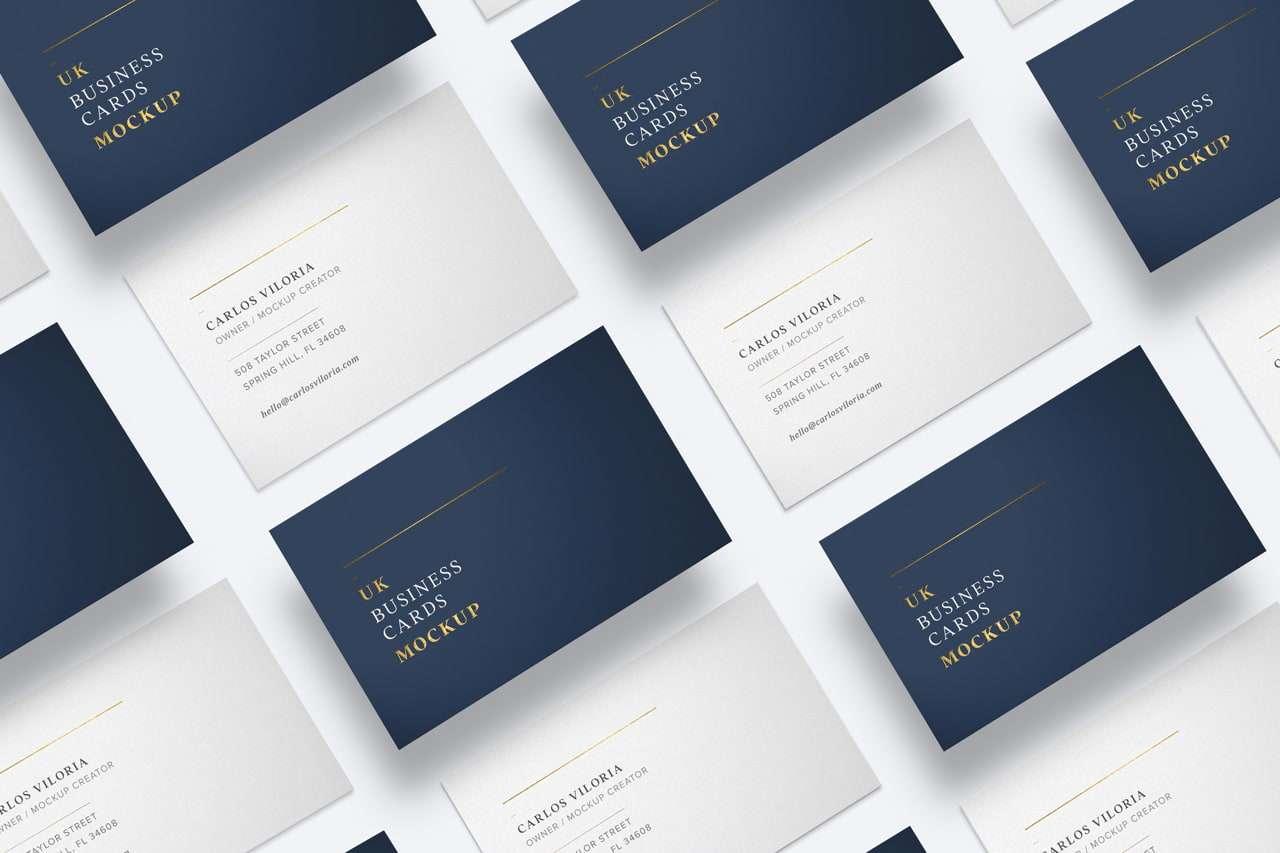 UK Business cards mockup for branding