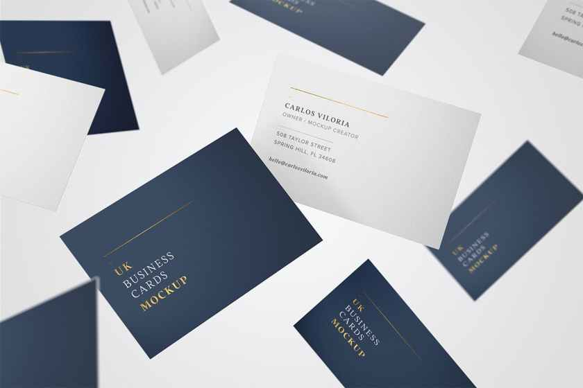 Flying UK Business Cards Mockup