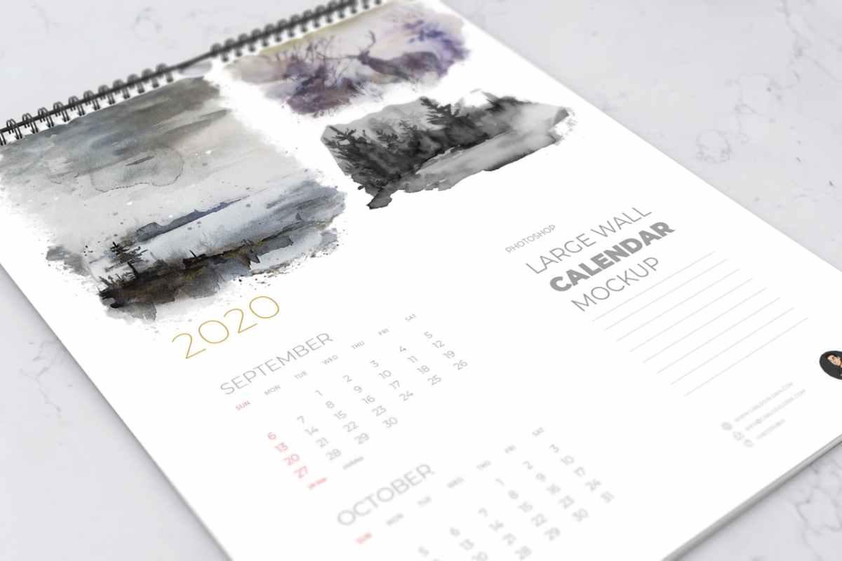 Close-Up Wall Calendar Mockup
