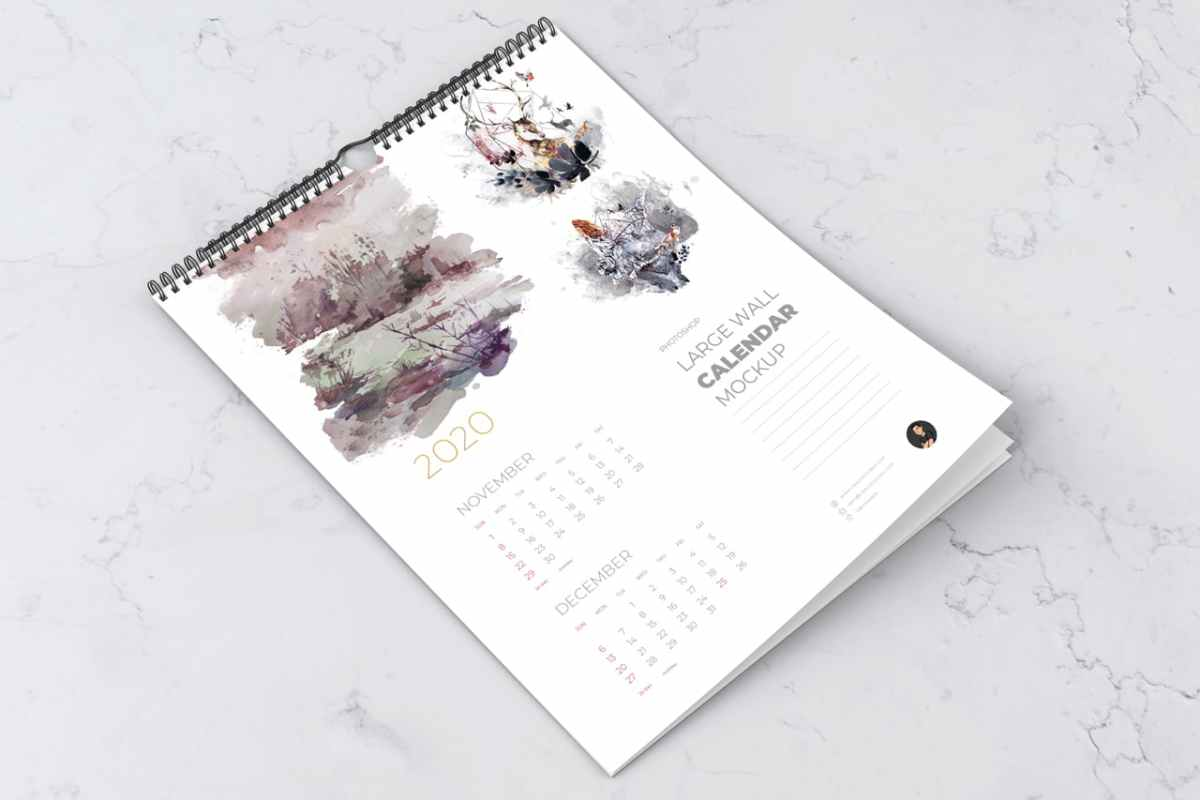 Perspective Wall Calendar Mockup