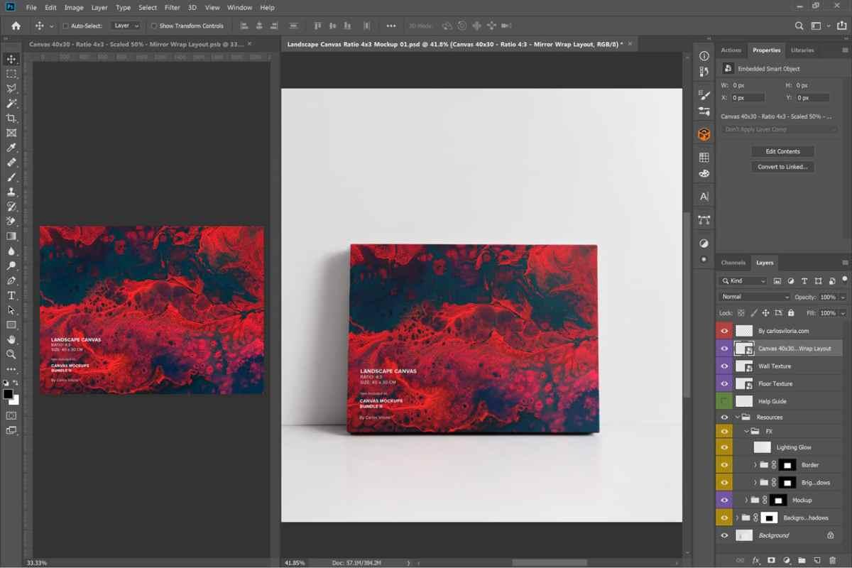 Front-facing landscape canvas mockup