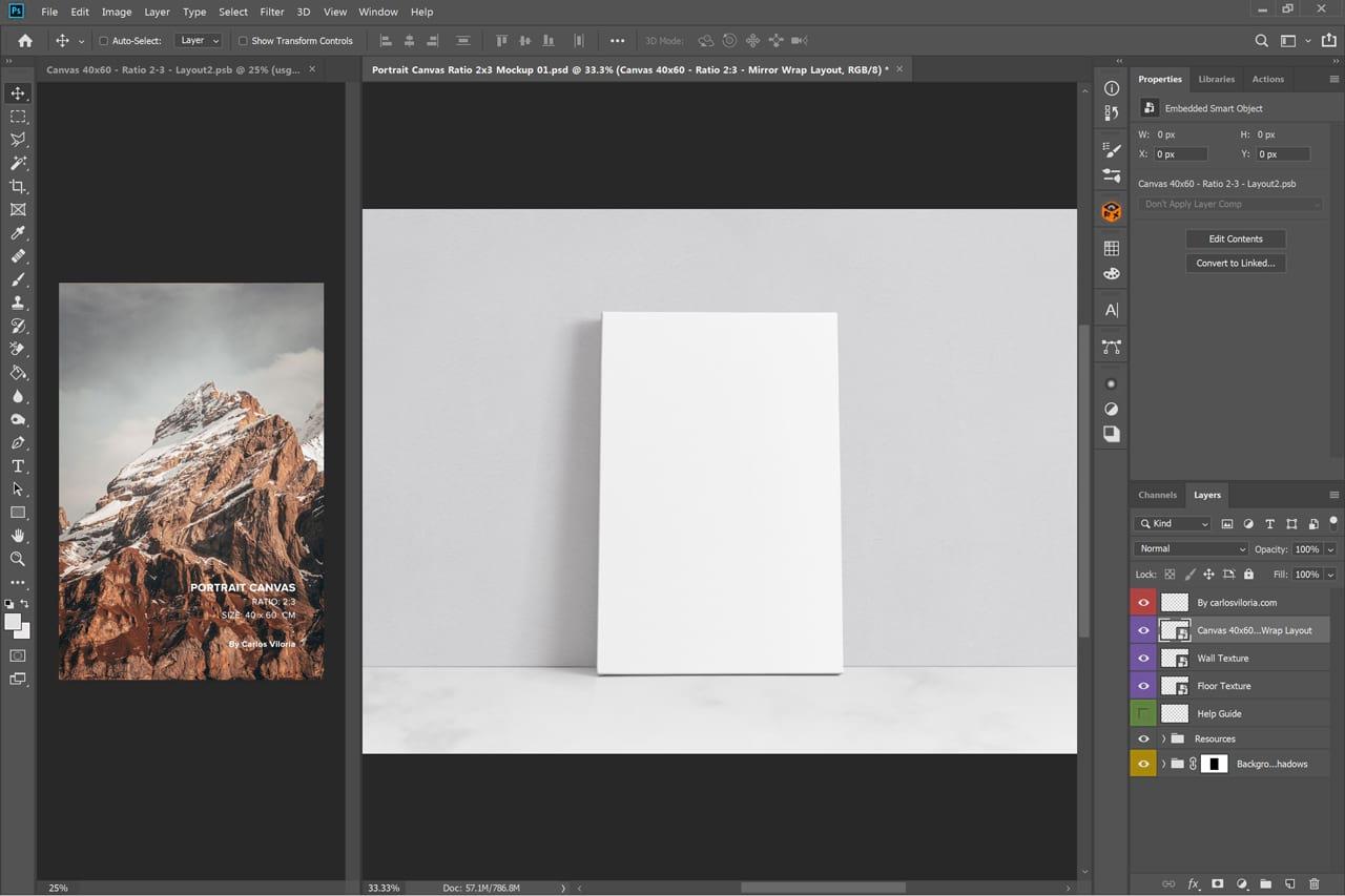 Portrait Canvas Mockup Ratio 2x3