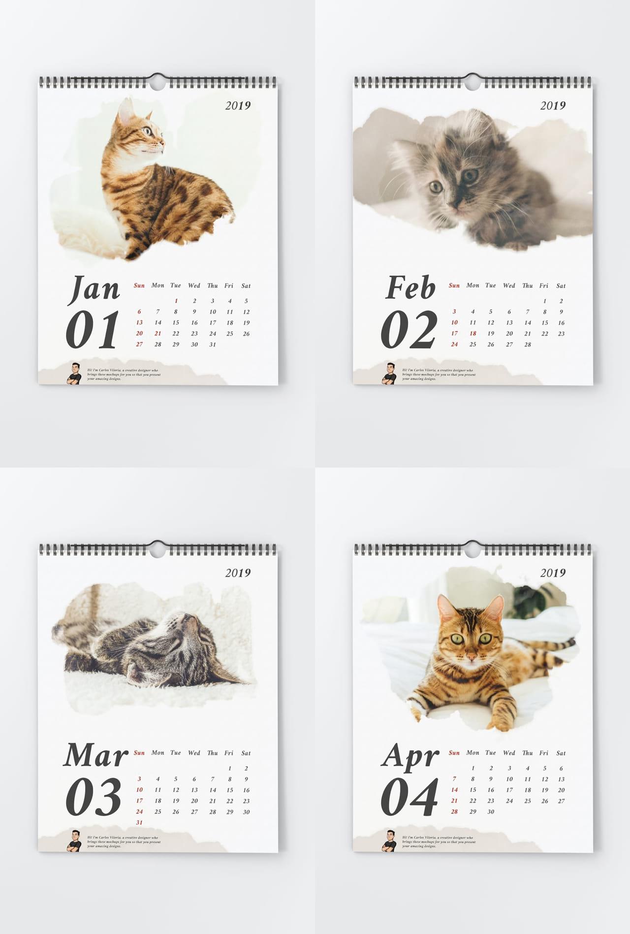 Large Portrait Wall Calendar Mockup Pack