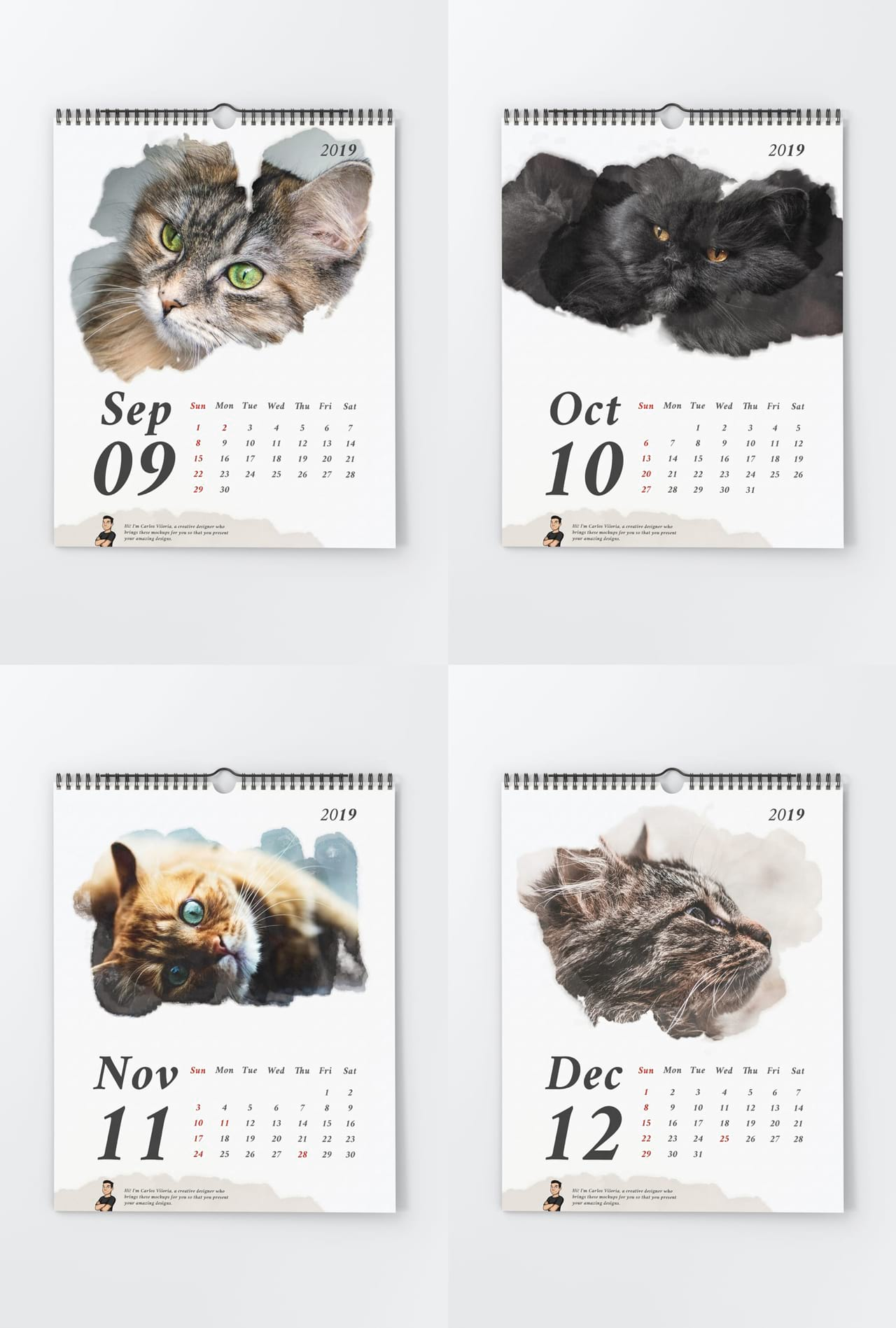 Portrait Wall Calendar Mockups