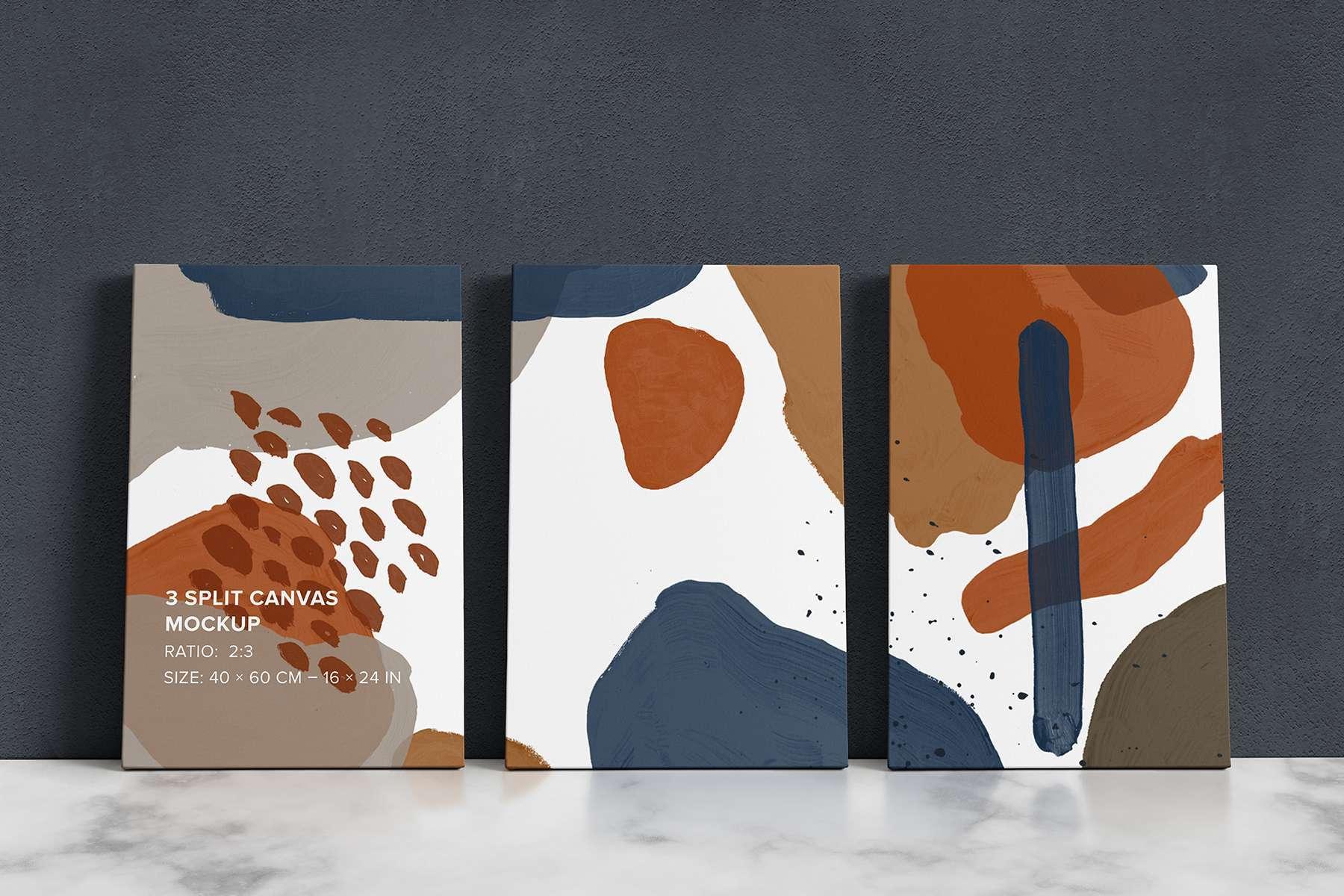 3 Split Panel Canvas Ratio 2x3 Mockup