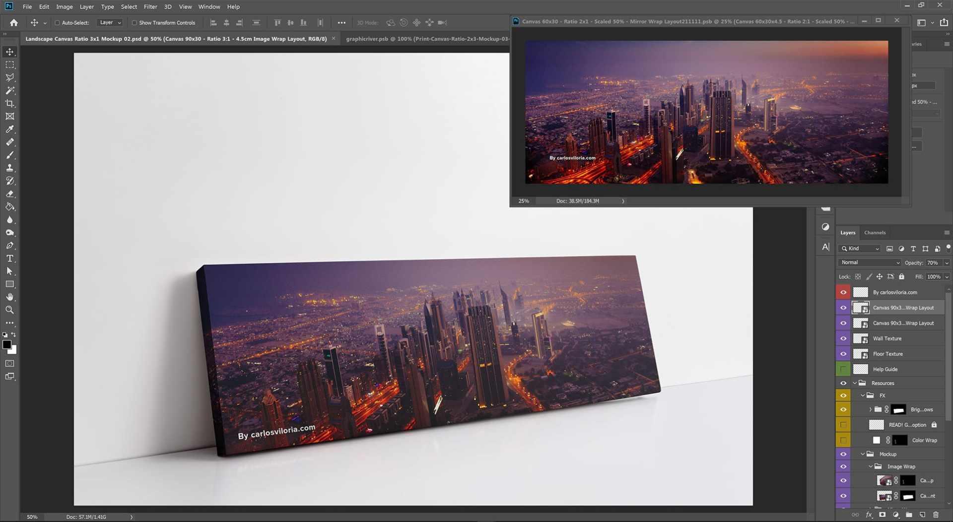 Landscape Canvas ratio 3x1 Mockup