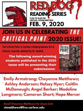 Flyer for Red Dog Reading Series meeting from February 9th, featuring awardees from the 2020 Critical Point journal.