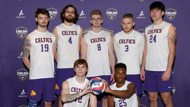 Photo of the 2020 Men's Volleyball Team in their team uniforms.
