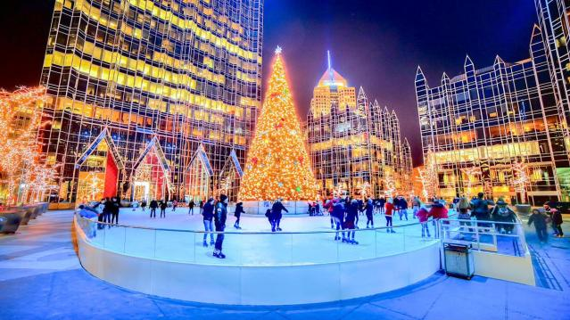 Photo of PPG Place ice rink during holiday season