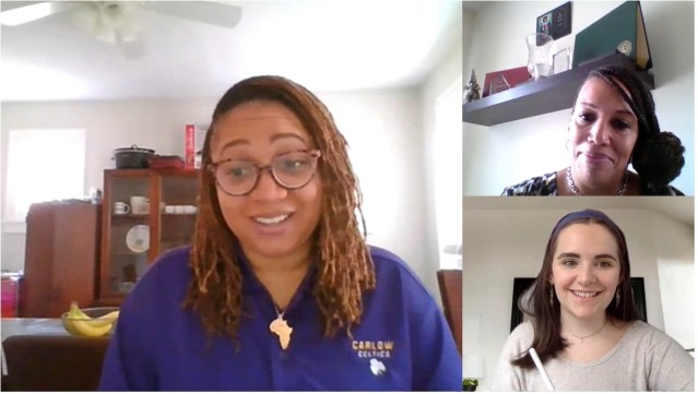 Photo of virtual meeting between Ms. Crystal Rose, Dr. Tammi McMillan, and Guinevere Stearns