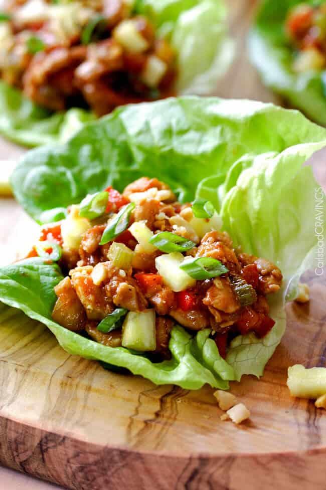 Asian Chicken Lettuce Wraps In Pineapple Hoisin Peanut