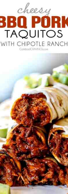 Cheesy Baked BBQ Pork Taquitos - these are SO addicting! The Entire family loves them and is already begging me to make them again! and don't skip the Chipotle Ranch - its incredible!