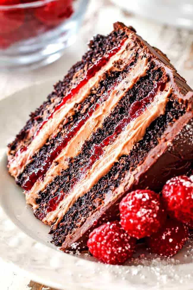 Chocolate Raspberry Cake with Raspberry Jam Chocolate Mascarpone  Chocolate Ganache