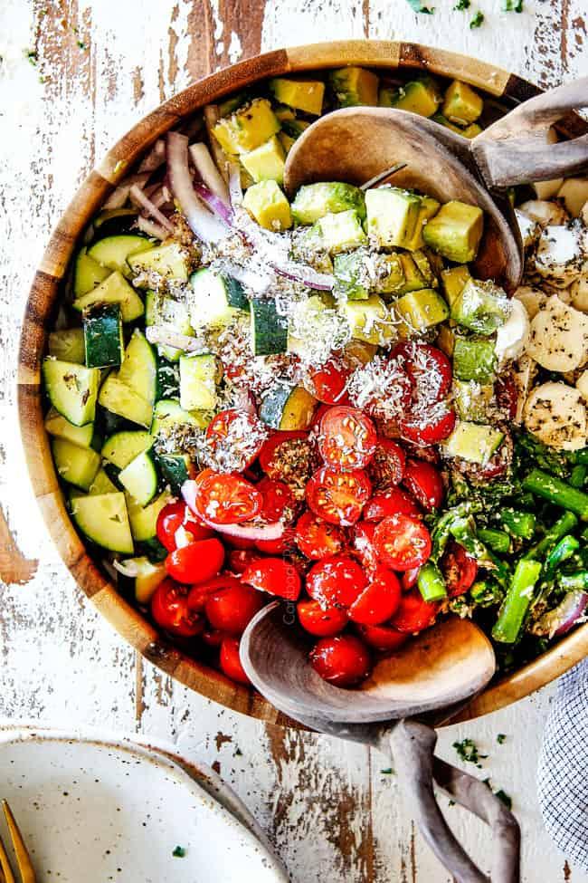 Cucumber Tomato Salad with Avocado, Mozzarella & Asparagus