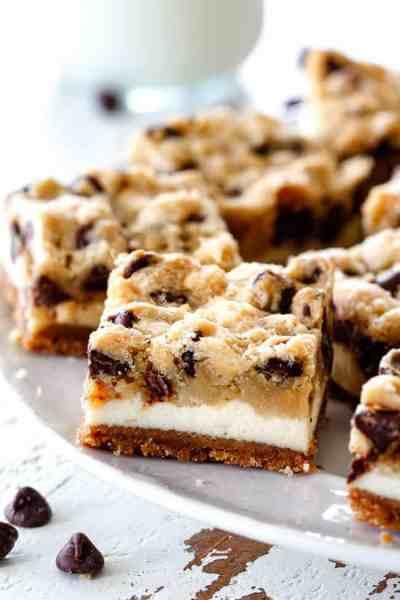EASY Chocolate Chip Cooke Dough Cheesecake Bars