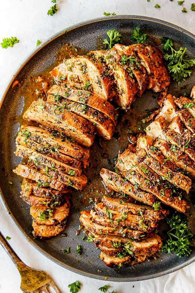 BEST Baked Pork Tenderloin with Garlic Herb Butter (+Video!)