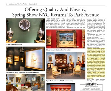 Antiques and the Arts Weekly, The Spring Show NYC 5/17/13