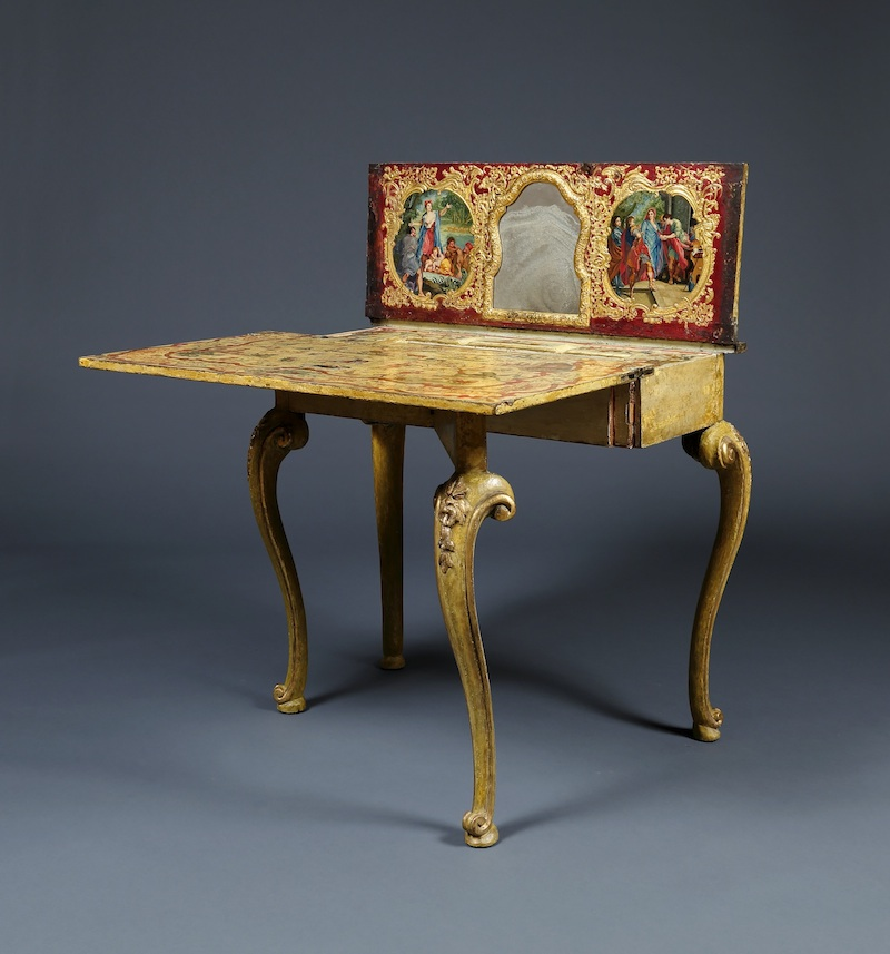Of Lacquered Wood And Raised Composition Work With Gilt Brass. The Table  When Closed Is Raised On Four Cabriole Legs With Gilded Grotesque Masks To  The ...