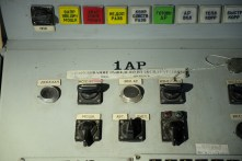 Controls for the No. 1 automatic power regulator on A Desk (reactor control engineer's position) in Unit 2 at Chernobyl.