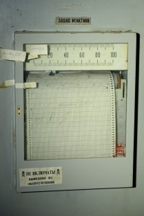 Operational reactivity reserve (OZR) chart recorder in the Unit 2 control room at Chernobyl.