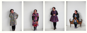 A selection of five photos of Carly Findlay. She is wearing pretty dresses in each of them. She has a red face and short dark curly hair.
