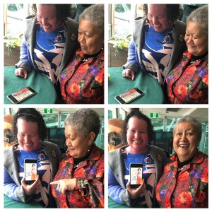 Four photos of Carly Findlay and her Mum jeanette, looking at her book cover on a phone. They are both smiling and looking surprised in each of the photos.