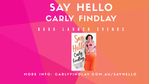 Purple and orange banner image advertising say helllo book tour