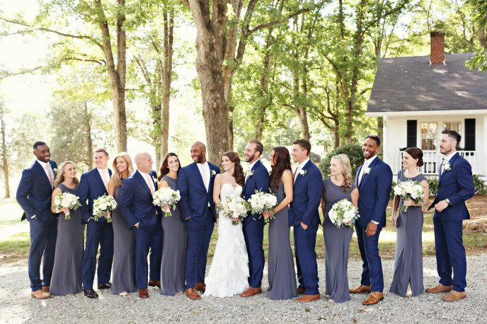 wedding party blue suits grey dresses summerfield farms bridesmaids groomsmen