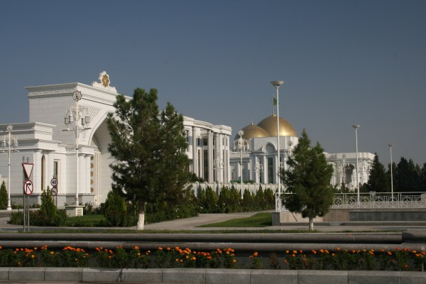 Central Ashgabat is full of gleaming white marble buildings topped with gold domes!