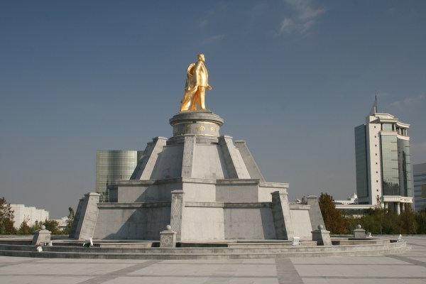 Gold statues of Turkmenistan's leader make for an unusual sight