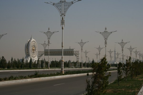 Empty streets and weird buildings are the norm in Ashgabat. That weird round building to the left is an enclosed ferris wheel!