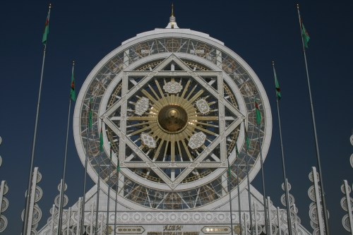 An enclosed ferris wheel in the capital of Turkmenistan