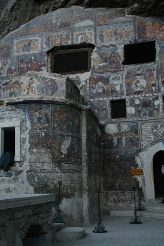 Colourful frescos within Sumela Monastery
